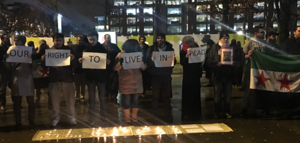 protest, Aleppo, Manchester, Piccadilly Gardens, Syria